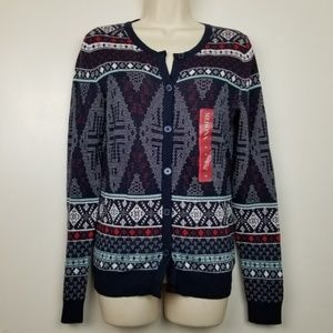 3/$15 Womens Holiday Cardigan Sweater XS Blue